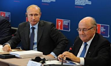 Russia's president Vladimir Putin (left) and Fifa president Sepp Blatter